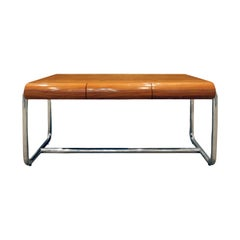 Pace Collection Desk in Lacquered Rosewood and Stainless Steel, 1970s
