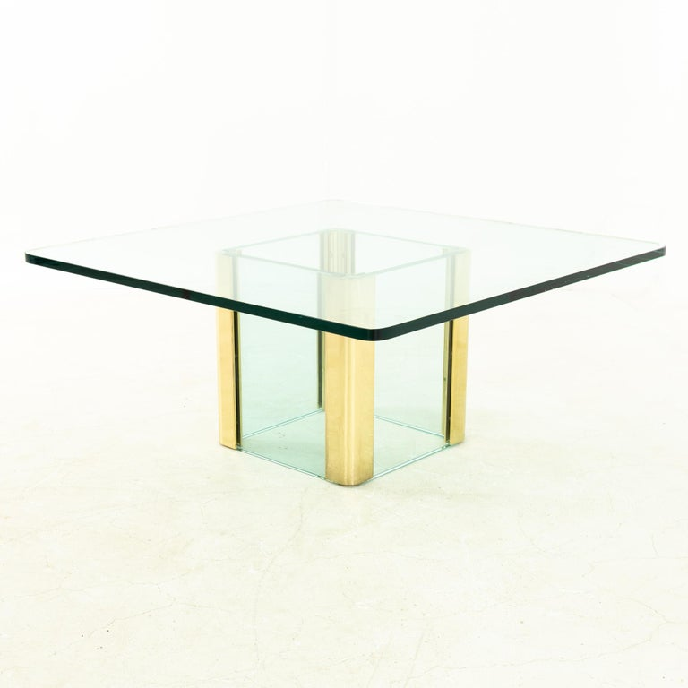 Mid-Century Modern Pace Midcentury Brass and Glass Pedestal Base Coffee Table For Sale