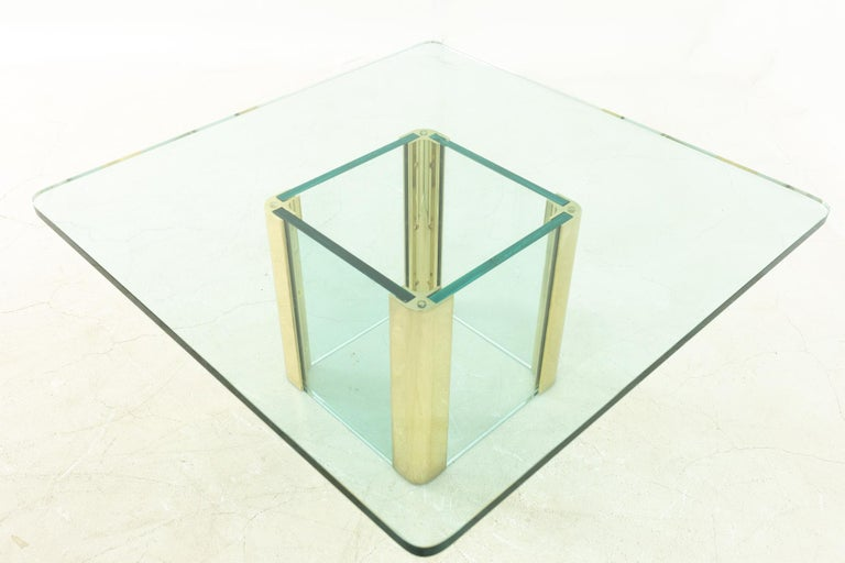 American Pace Midcentury Brass and Glass Pedestal Base Coffee Table For Sale