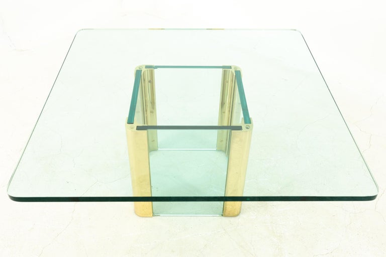 Pace Midcentury Brass and Glass Pedestal Base Coffee Table In Excellent Condition For Sale In La Grange, IL