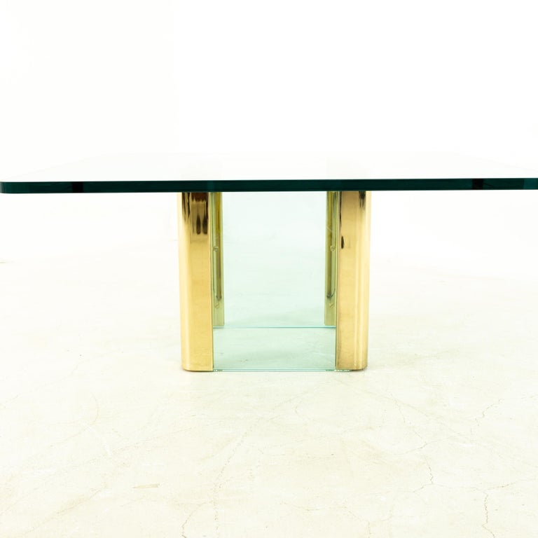 Late 20th Century Pace Midcentury Brass and Glass Pedestal Base Coffee Table For Sale
