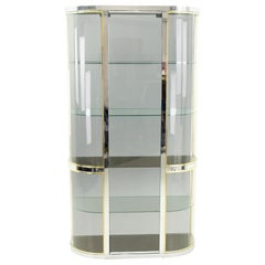 Pace Midcentury Brass Curved Glass Display Case Shelving
