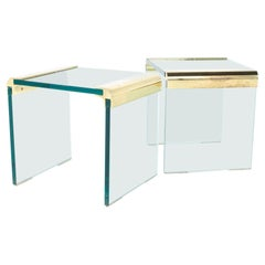 Pace Mid Century Glass Side End Tables - A Pair