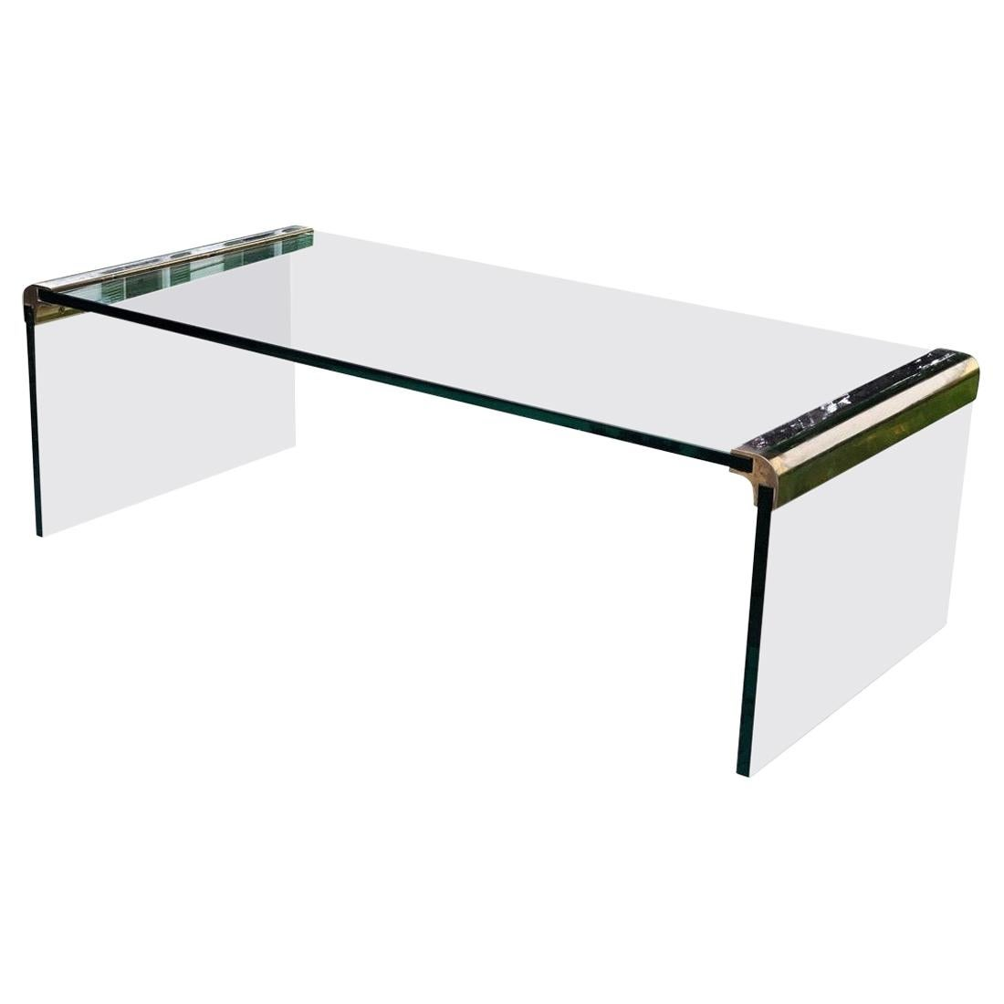 Pace Midcentury Leon Rosen Waterfall Cocktail Coffee Table Glass and Brass