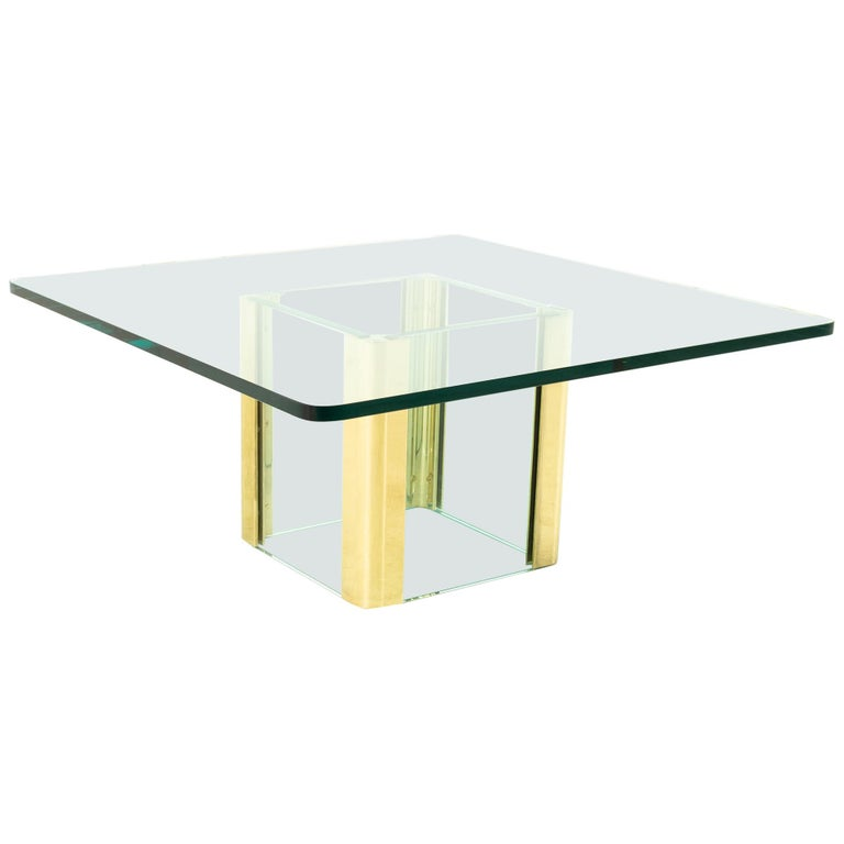 Pace Midcentury Brass and Glass Pedestal Base Coffee Table For Sale