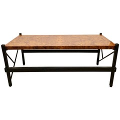 Pace Modern Coffee or Low Table Burl-Veneer Wood Top Metal Base