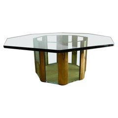 Pace Octagonal Mid-Century Modern Glass & Brass Coffee Table Heavy Glass Top