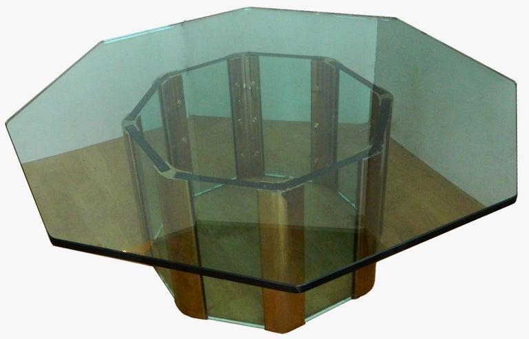 Mid-Century Modern Pace Octagonal Brass & Glass Coffee Table with Glass Top For Sale