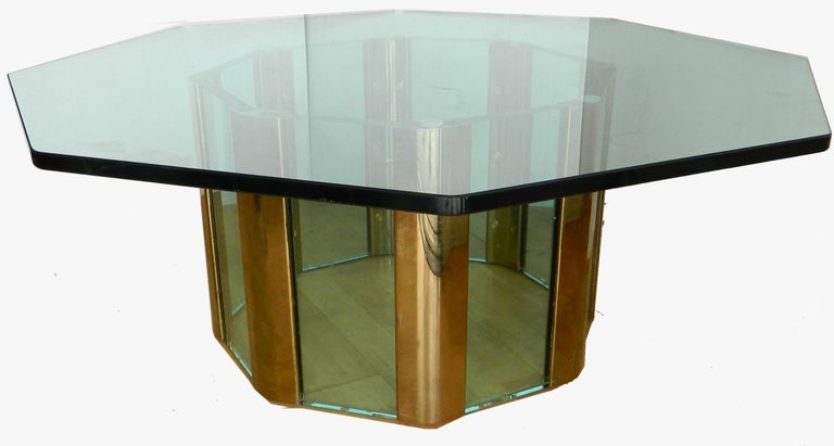 American Pace Octagonal Brass & Glass Coffee Table with Glass Top For Sale
