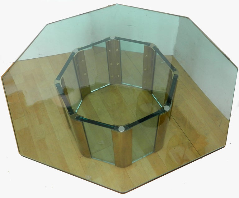 Pace Octagonal Brass & Glass Coffee Table with Glass Top In Good Condition For Sale In Miami, FL