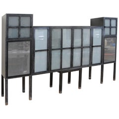 Pace Piombo Ash & Sandblasted Glass Bauhaus Cabinet, Bar, Entertainment Centre