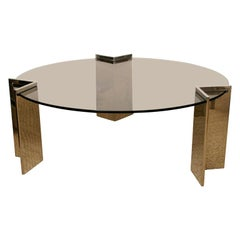 Pace Srainless Steel and Glass Round Cocktail Table