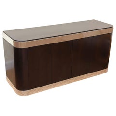 Pace Stainless Steel and Ebonized Cabinet Or Credenza