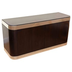 Pace Stainless Steel and Ebonized Wood Cabinet or Credenza Vintage