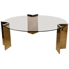 Pace Stainless Steel and Glass Round Cocktail Table