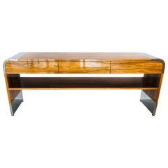 Pace Stainless Steel and Wood Console Table, 1970s