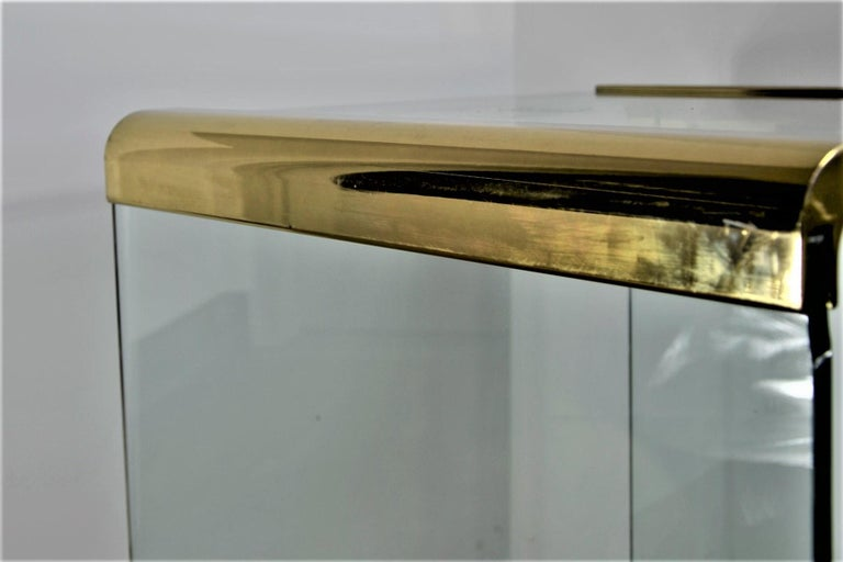 Pace Waterfall 3 Sided Glass Sheet Held by Brass Bars End or Side Table For Sale 10