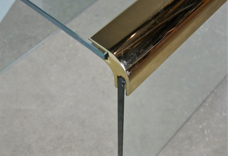 Pace Waterfall 3 Sided Glass Sheet Held by Brass Bars End or Side Table For Sale 11