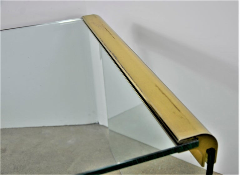 Pace Waterfall 3 Sided Glass Sheet Held by Brass Bars End or Side Table For Sale 12