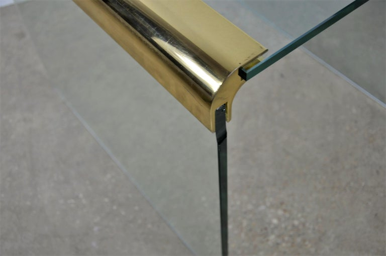Pace Waterfall 3 Sided Glass Sheet Held by Brass Bars End or Side Table For Sale 13