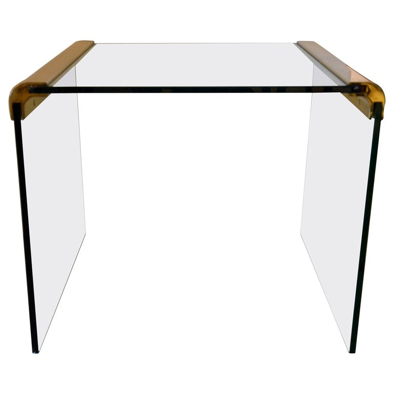 Pace Waterfall 3 Sided Glass Sheet Held by Brass Bars End or Side Table For Sale
