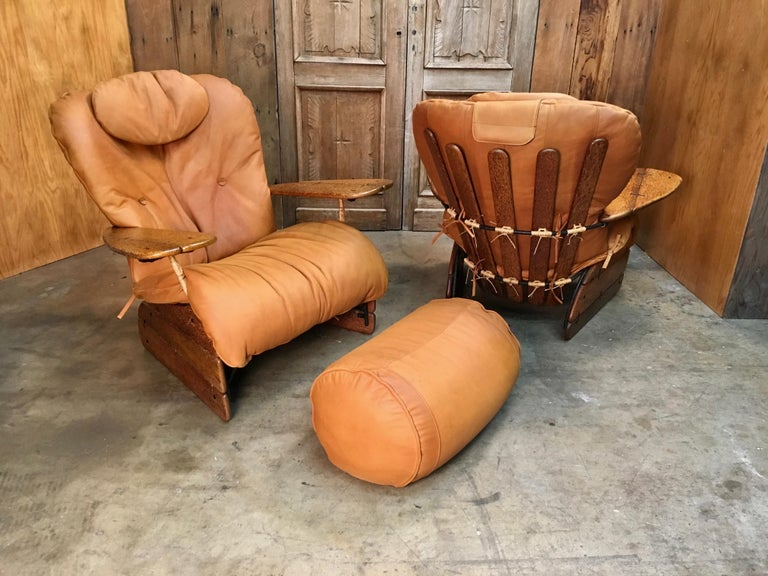 Pacific Green Havana Lounge Chairs with Ottomans For Sale 4