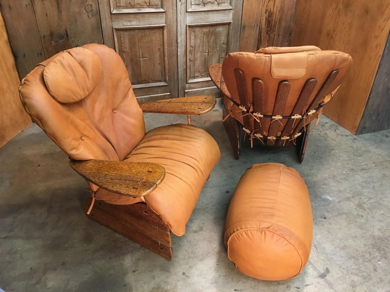 Pacific Green Havana Lounge Chairs with Ottomans For Sale 7
