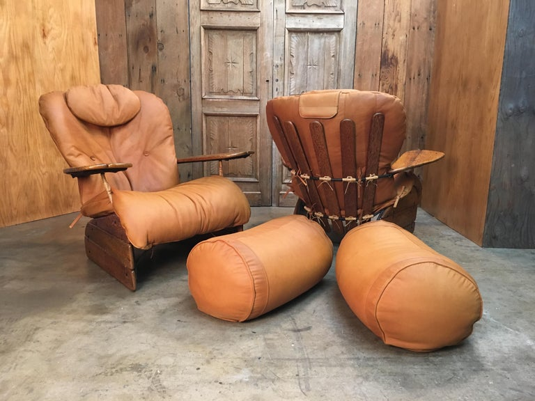 Pacific Green Havana Lounge Chairs with Ottomans For Sale 10