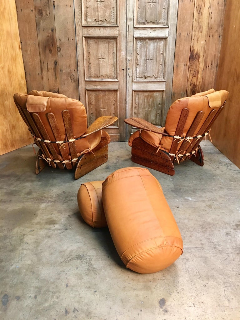 Oceanic Pacific Green Havana Lounge Chairs with Ottomans For Sale