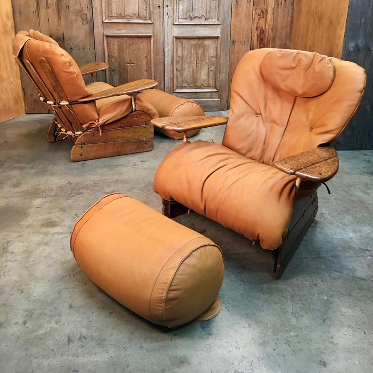 Pacific Green Havana Lounge Chairs with Ottomans In Good Condition For Sale In Laguna Hills, CA