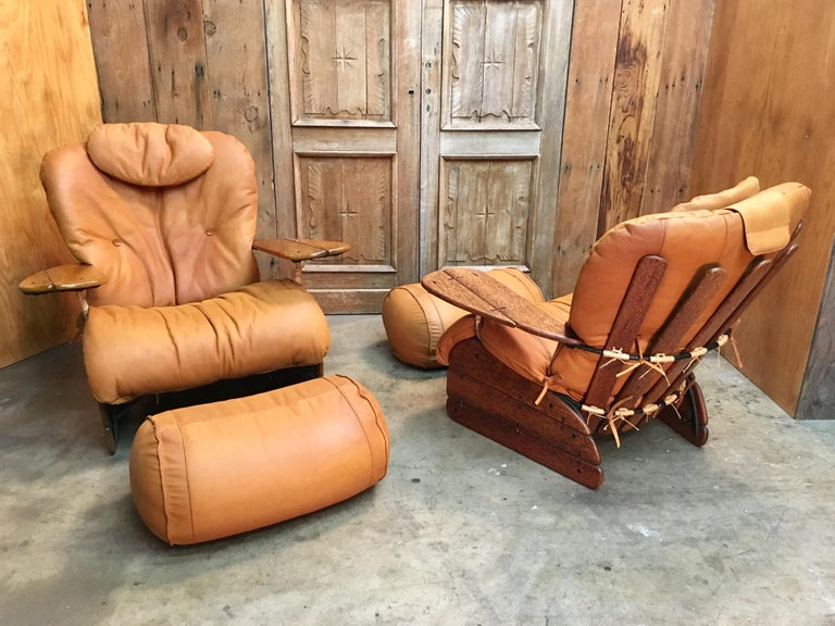 20th Century Pacific Green Havana Lounge Chairs with Ottomans For Sale
