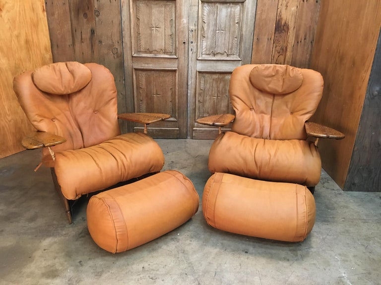 Pacific Green Havana Lounge Chairs with Ottomans For Sale 2