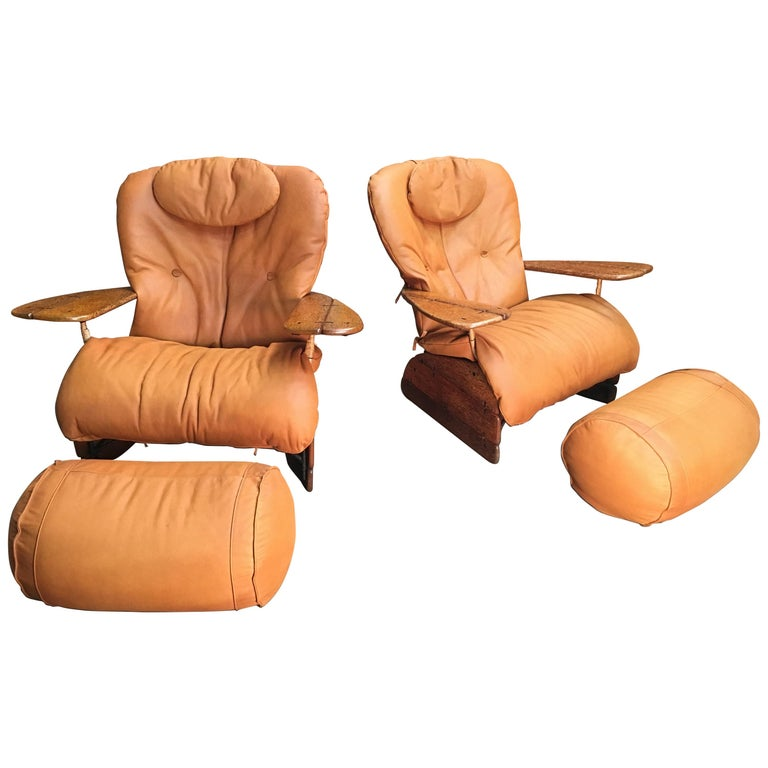 Pacific Green Havana Lounge Chairs with Ottomans For Sale