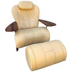 Pacific Green Palmwood and Leather Lounge Chair and Ottoman