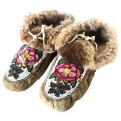 Pacific Northwest Native American Indian Beaded Moccasins Circa 1930
