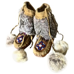 Pacific Northwest Native American Indian Child's High Top Moccasins, Circa 1930