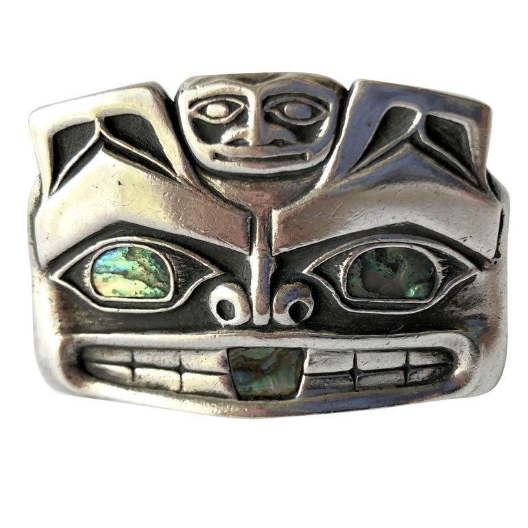 Pacific Northwest Native American Sterling Silver Abalone Mask Money Clip