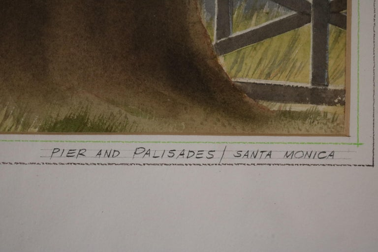 Delicate watercolor of a view of pacific palisades pier. Signed Stanton and titled