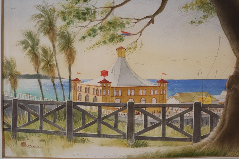 American Pacific Palisades Watercolor signed Stanton For Sale