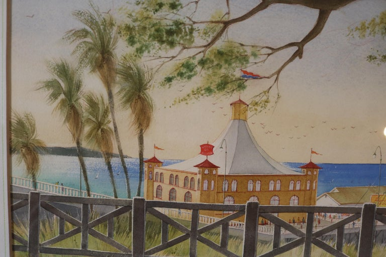 Pacific Palisades Watercolor signed Stanton In Excellent Condition For Sale In Pasadena, CA