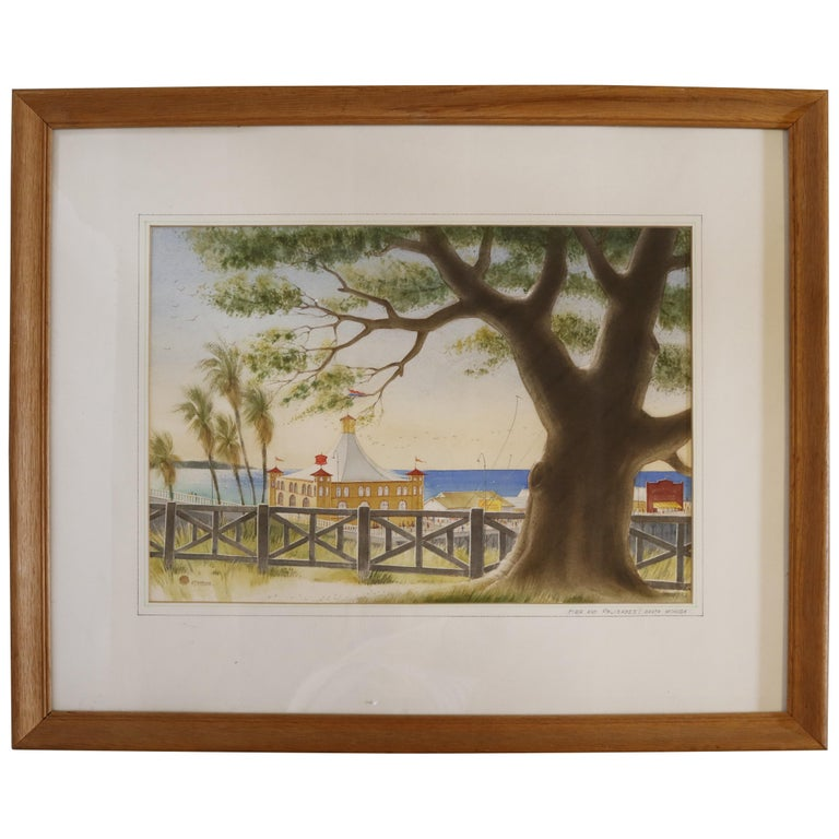 Pacific Palisades Watercolor signed Stanton For Sale