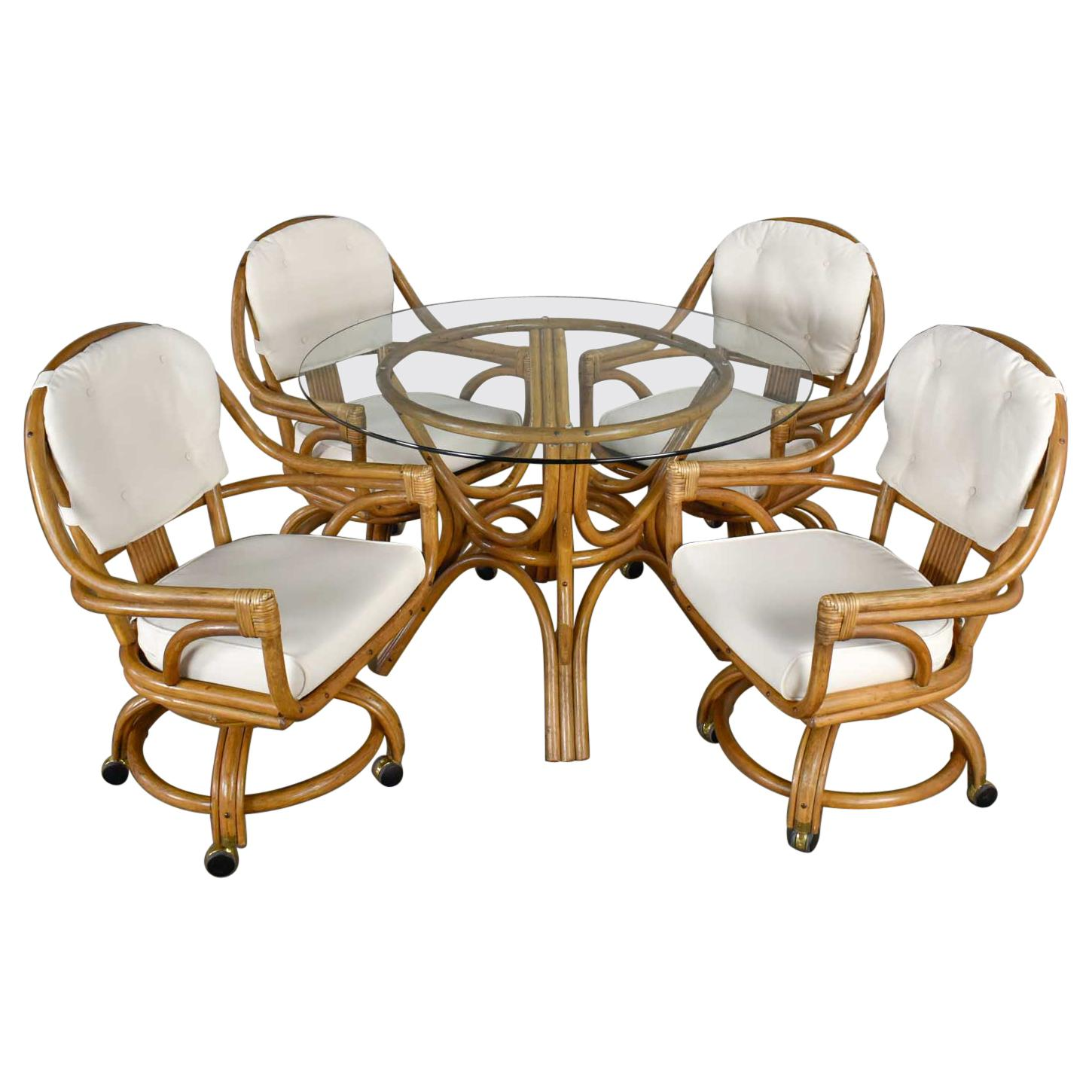 Pacific Rattan Game or Dining Table Round Glass Top & 4 Rolling Swivel Chairs