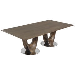 Pacini & Cappellini Axis Rectangular Dining Table in Walnut Wood by Stefan Bigi