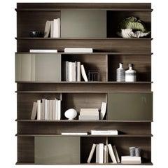 Pacini & Cappellini Berchet Bookcase in Glass & Veneered Wood by Cristina Palear