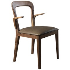 Pacini & Cappellini Gaya Chair with Structure in Solid Canaletto Walnut