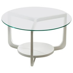 Pacini & Cappellini Isola Coffee Table in White Lacquered Ash and Glass Top