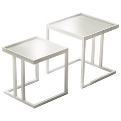 Pacini & Cappellini Pair of Ambo Coffee Tables in Lacquered White Ash