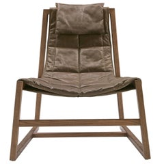 Pacini & Cappellini Relax Armchair in Brown Leather by Studio Controdesign