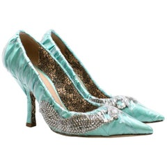 Paciotti By Midnight Crystal-embellished ruched satin pumps 35.5