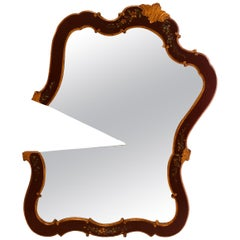 """""""Pacman"""" Contemporary Wall Mirror from an Antique Venetian Lacquered Frame"""